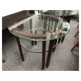 Pair of Contemporary Glass Top Side Tables