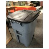 Large Rubbermaid Commercial Rolling Trashcan 1of2