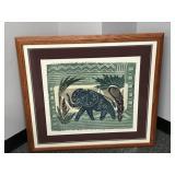 Framed Elephant multi-media artwork