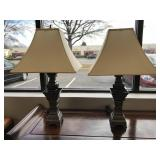 Pair of Heavy Pewter Lamps with Shades