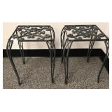 Pair of Heavy Wrought Metal Plant Stands