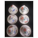 Set of 6 Asian Style Demitasse Tea Cups