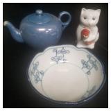 Lusterware Tea Pot, Asian Style Cat