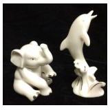 Lenox Elephant And Lenox Dolphin Figures