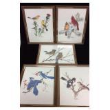 Five Framed Bird Prints by Sherm Pehrson