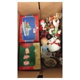 Box Lot of Assorted Christmas Ornaments. Etc