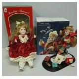 Porcelain animated doll and Smithsonian Santa