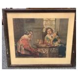 Vintage print of men playing chess