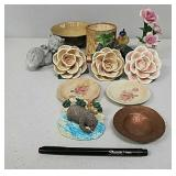 Ornamental flowers and other items