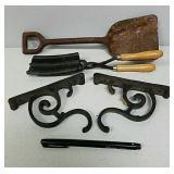 Metal hooks, curling iron, small shovel