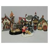 Group of winter house decorations