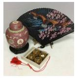 Asian Ginger Jar, Fan And Spice Cellars
