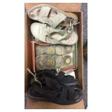 Box Lot of Ladies Sandals And Shoes