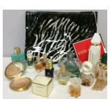 Lot of Vintage Perfumes, Compact New Make Up Bag