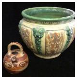 Planter and Small Handled Pottery Piece