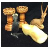 Assortment of Carved Wooden Items