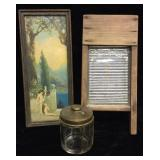 Vintage Glass Washboard Vintage Container with