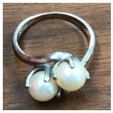 Authentic Pearl Ring marked 10k-PS