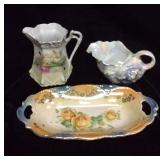 Antique Pearl Ware Pitcher And Dish And Lusterware