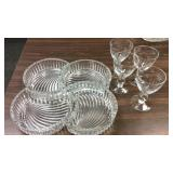 Mikasa Crystal Serving Bowls And 4 Etched Wine