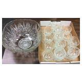 Vintage Pressed Glass Punch Bowl And 19 Cups