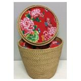 Beautiful Woven Asian Padded Basket with Lid