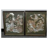 Framed Oriental fabric artwork