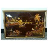 Lacquer on board painting