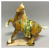 Large decorative glazed ceramic horse