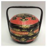 Vintage lacquered Oriental style lunchbox