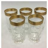 Set of 5 gold trimmed glass tumblers
