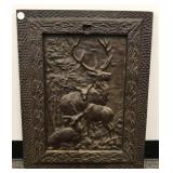 Cast iron wall plaque with deer scene