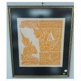 Framed Thai block print