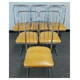 Set of six mid century chrome chairs