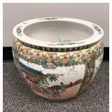 Oriental porcelain fishbowl / jardiniere