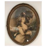 Antique portrait print in old oval frame