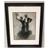 Dancing print in modern black frame