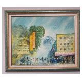 Mid century style oil painting depicting cityscape