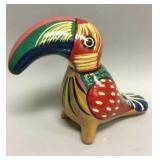 Large vintage painted ceramic parrot