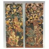 Unusual oriental carved wood wall plaques