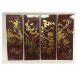 Set of 4 hand painted lacquer wall plaques