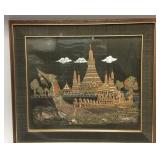 Asian style framed painting on silk