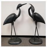 Pair of large heron sculptures