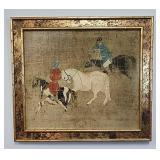 Framed oriental art on board