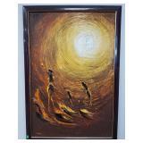 Sun oil on canvas painting