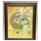 Small framed Japanese style oil on canvas