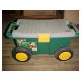Garden Bench on Wheels & Gardening Tools