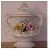 Italian Capodimonte Ceramic Vase with Lid