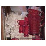 Red Pitcher and Sugar Creamer Lot