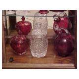 Red Decanter and Candy Dish Lot